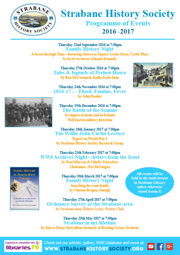 Strabane History Society Programme of Events 2016-2017